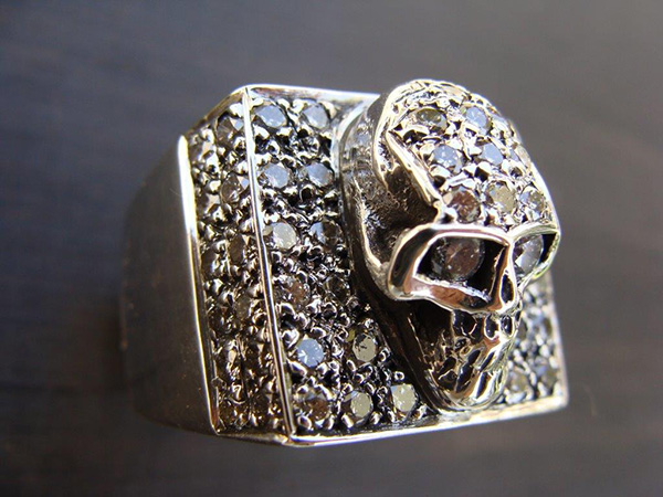 Large Square Skull Pave Diamond Ring