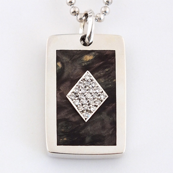 ACE OF DIAMOND PAVE WOOD DOGTAG