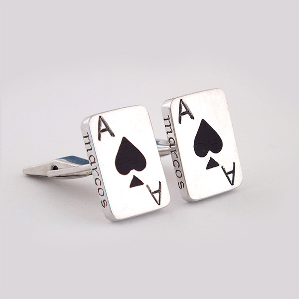 Ace Of Spade Wood Cufflinks
