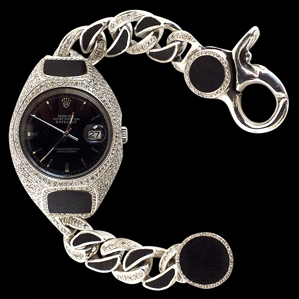 WATCH BRACELET WOOD PAVE DIAMOND