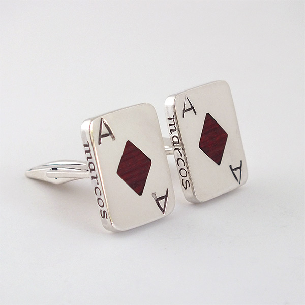 Ace Of Diamond Wood Cufflinks