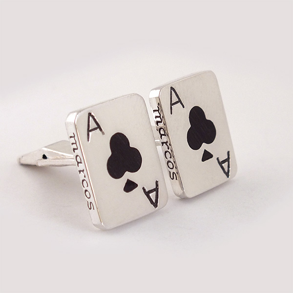 Ace Of Club Wood Cufflinks
