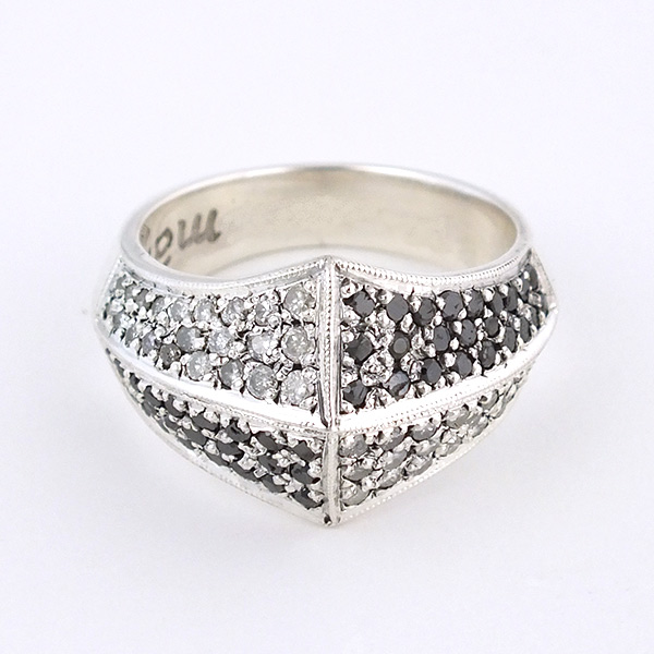 DOME RING, PAVE DIAMOND AND BLACK DIAMOND