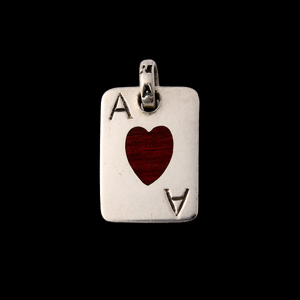 Small Ace Of Heart Wood Dogtag
