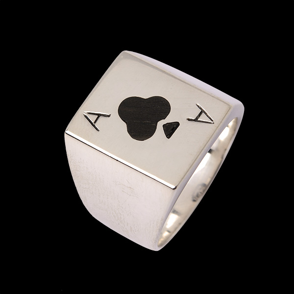 Ace Of Club Wood Ring