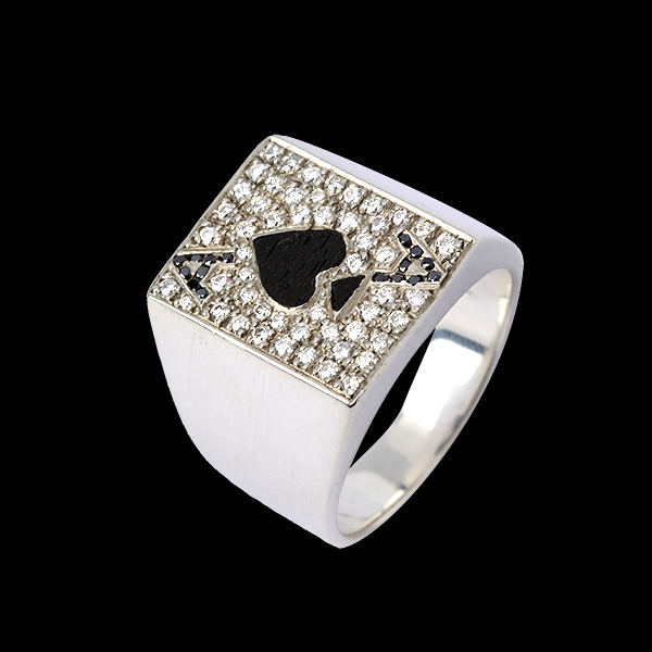 Paved Diamond with Wood Ace Of Spade Ring 1.0ct