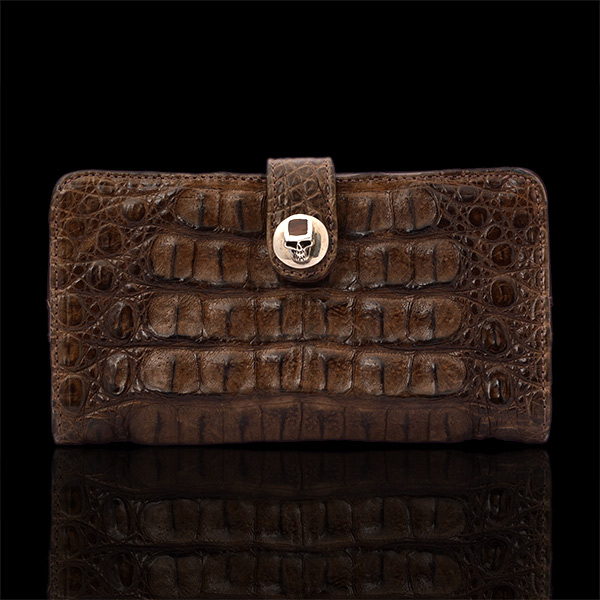 Crocodile One Button Wood Skull Wallet