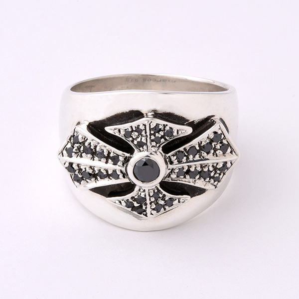 MALTESE CROSS RING, PAVE BLACK DIAMOND 1.0 CARAT