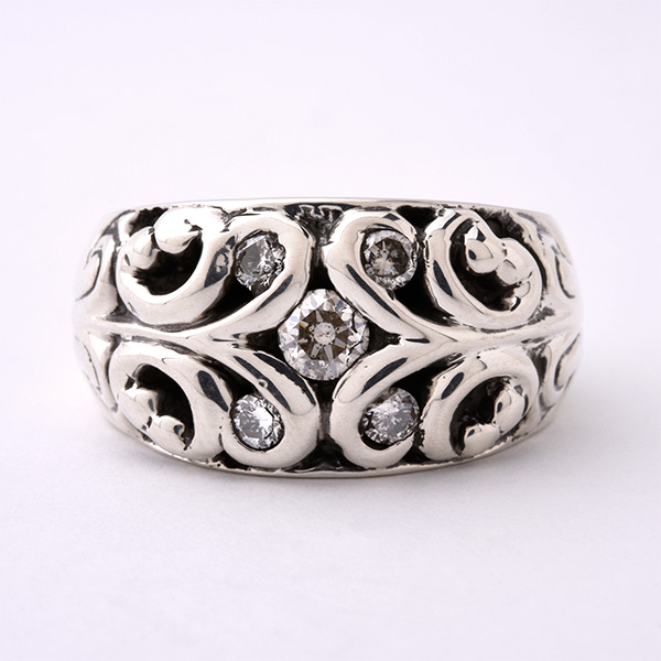 FILIGREE RING W/DIAMOND ROUND BRILLIANT CUT +4-ROUND