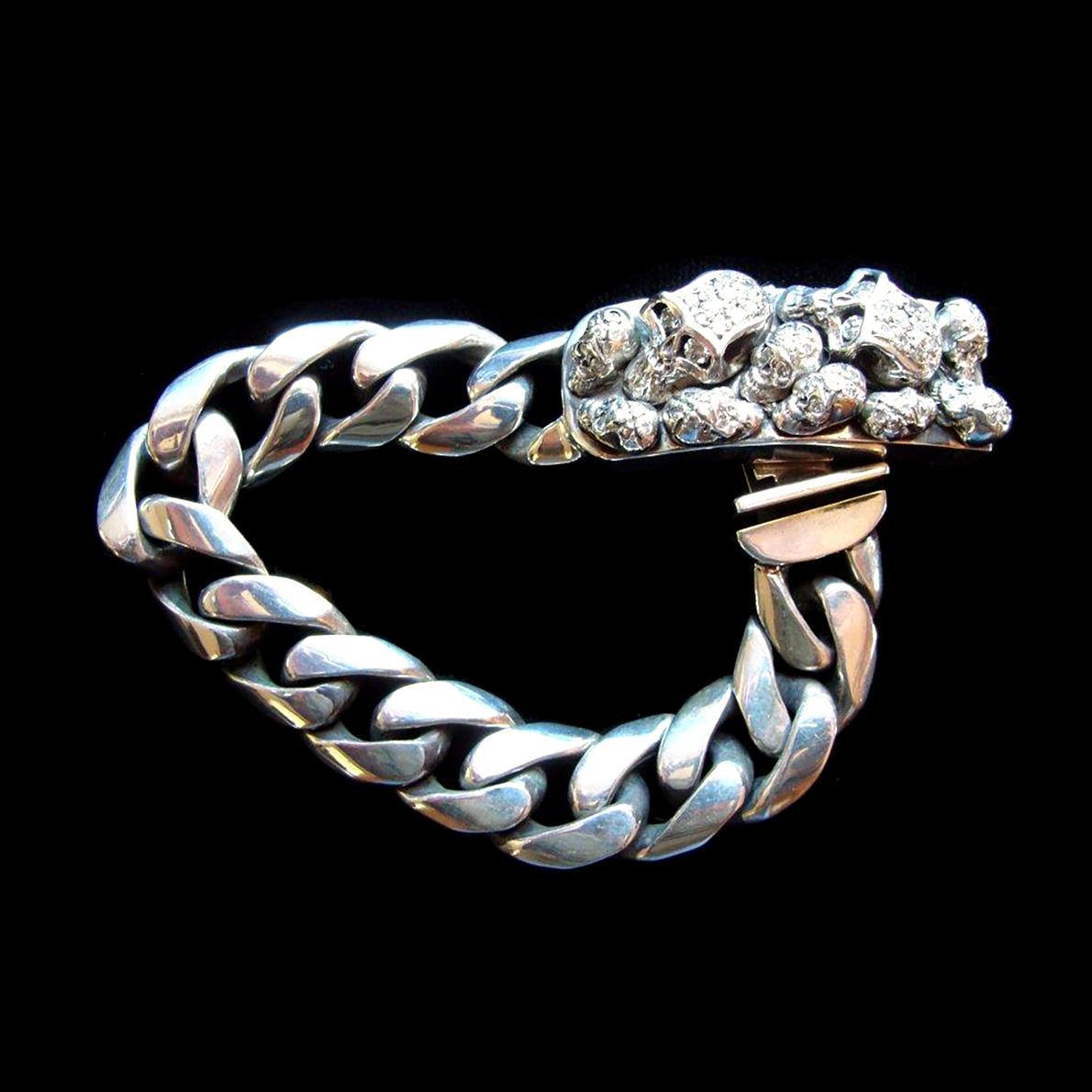 Multi Skull ID Bracelet / Pave Diamond