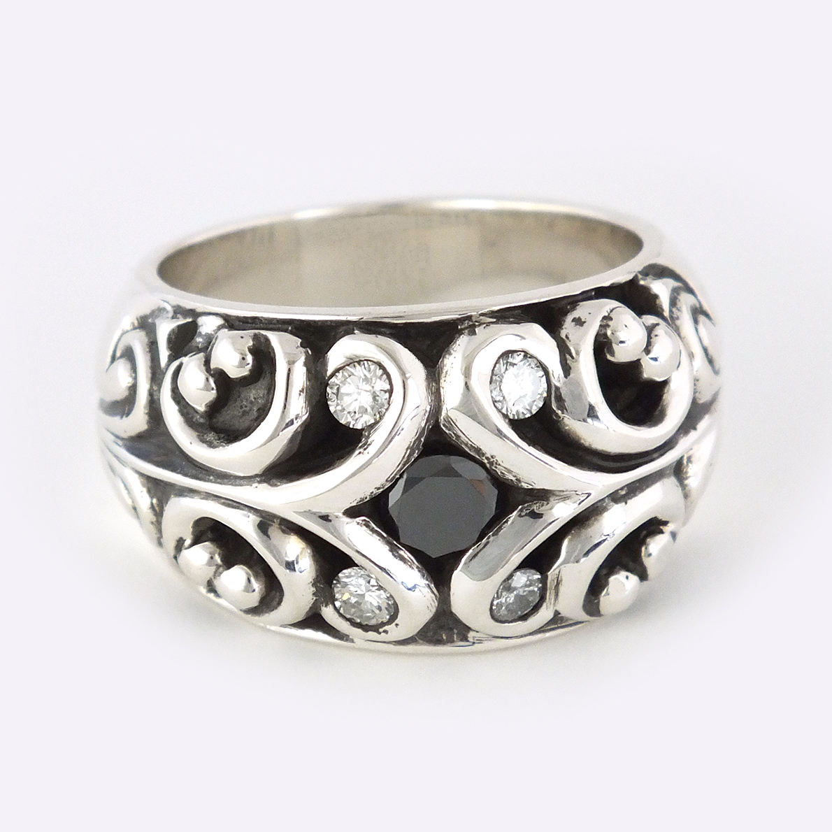 BLACK DIAMOND, 4 Round Diamond Silver Ring
